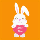 Rabbit with love message Royalty Free Stock Photography