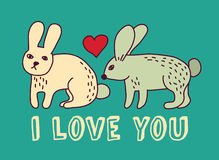 Rabbit love valentine color card Royalty Free Stock Image
