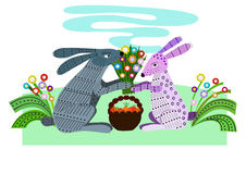 Rabbit lovers on a date. Hare gives a nice gift for your favorite on a date Royalty Free Stock Photos