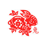 Rabbit Lunar symbol. Papercut of 2011 Rabbit Lunar year symbol Royalty Free Stock Photos