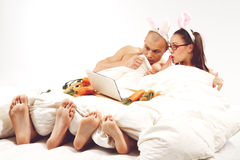 Rabbit lying in bed with laptop Royalty Free Stock Photography
