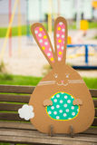 Rabbit made ��from organic paper in park Stock Images