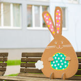 Rabbit made ��from organic paper in park Royalty Free Stock Images