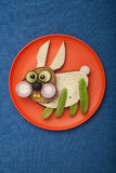 Rabbit made of bread and vegetables Royalty Free Stock Images