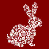 Rabbit made from small egg symbols Stock Images