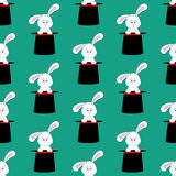 Rabbit in magic hat pattern Stock Images