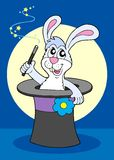 Rabbit in magical hat. Vector illustration Royalty Free Stock Photo