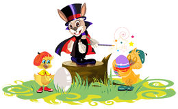 Rabbit magician and chickens dyed eggs for Easter Royalty Free Stock Photography