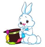Rabbit magician focus cartoon illustration Stock Photo