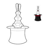 Rabbit in magician hat coloring book. Focus in linear style. Acc Stock Photos