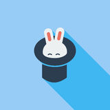 Rabbit in magician hat. Royalty Free Stock Photography