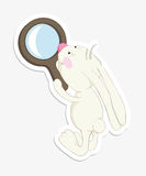 Rabbit and magnifier Royalty Free Stock Photography