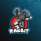 Rabbit mascot logo vector design with modern illustration concept style for badge, emblem and t shirt printing. smart rabbit vector illustration