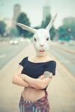 Rabbit mask woman Royalty Free Stock Photo