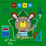 Rabbit cute cartoon. Rabbit is a math teacher Royalty Free Stock Photo