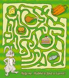 Rabbit Maze Game. Find a carrots. Vector illustration Stock Photography