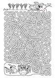 Rabbit maze for kids in black and white Royalty Free Stock Image