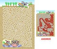 Rabbit maze for kids Royalty Free Stock Image