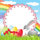 Rabbit on a meadow. Easter card Stock Photography