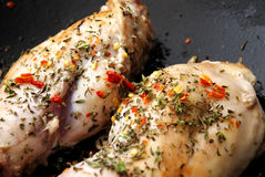 Rabbit meat in a frying pan Royalty Free Stock Image