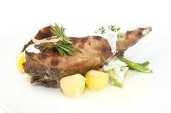 Rabbit meat and potatoes Stock Photos