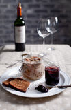 Rabbit meat in a wite wine jelly with chutney Stock Photos