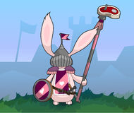 Rabbit Medieval Knight with Sword and Spear. Stock Images