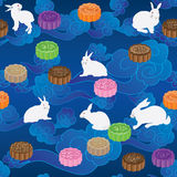 Rabbit moon cake horizontal cloud sky seamless pattern Stock Photo