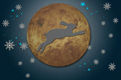 Rabbit on the moon from recycled papercraft Stock Photography