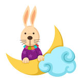 Rabbit with moon on a white background,vector Stock Images