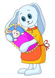 Rabbit-mother with the child. Picture about love and motherhood: rabbit-mother holds on hands of a little hare-child Royalty Free Stock Image
