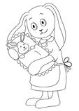 Rabbit mother with the child, contours. Rabbit mother holds on hands of a little hare-child. Picture about love and motherhood. Contours Stock Images