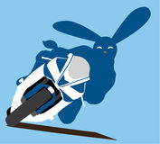 Rabbit moto. Conceptual illustration. Motorcycling. Year 2011 - rabbit, can be used as post card or for poster vector illustration