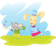 Rabbit and mouse Royalty Free Stock Images