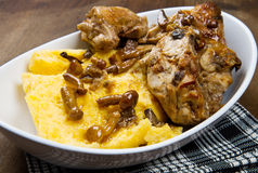 Rabbit with mushrooms and polenta Royalty Free Stock Image