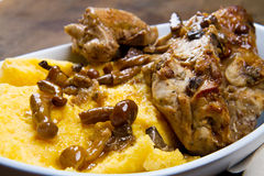 Rabbit with mushrooms and polenta Stock Photo
