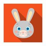 Rabbit muzzle icon in flat style isolated on white background. Animal muzzle symbol stock vector illustration. Stock Photos
