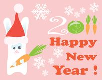 Rabbit with new year greeting Stock Photo