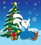 Rabbit and new year tree Royalty Free Stock Image