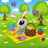 Rabbit On Picnic In Park Stock Image