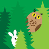 Rabbit owl icons Stock Photography