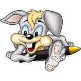 Rabbit painter with wax-crayon Royalty Free Stock Images