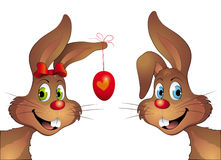 Rabbit pair with easter egg Royalty Free Stock Image