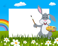 Rabbit with Palette Easter Horizontal Frame royalty free stock photography