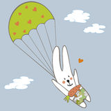 Rabbit parachutist in the sky Royalty Free Stock Images
