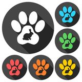 Rabbit Paw Print icons set with long shadow. Vector icon Royalty Free Stock Image