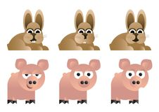 Rabbit, pig illustration Stock Photo