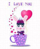 Rabbit with pink heart balloon in lilac cup and text I love you. Greeting card with cute cartoon rabbit in violet knitted hat, scarf and mittens holding pink Stock Images