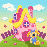 Rabbit with a pink house. Vector illustration Royalty Free Stock Photos