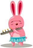 Rabbit playing flute Stock Photos